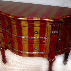 FOR SALE: Stock Items & Floor Samples - Brand new, Blanket Wrapped/ unboxed, but never been used---perfect condition; Two velvet-lined drawers / 2- doors. One of a Kind hand-painted red & gold finish.   Original List: $1290