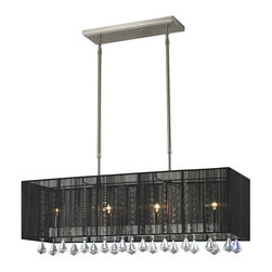 Z-Lite - Z-Lite Aura Kitchen Island / Billiard X-KB43-098 - The Aura family of linear shaded fixtures feature a stunning double line of multi faceted pyramid crystal. This fixture features a black string shade. In all cases the fixtures are finished with brushed nickel.