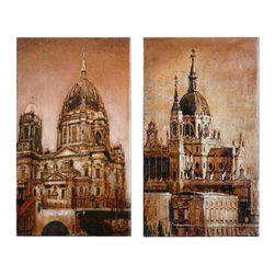Uttermost Antique Architecture Canvas Art Set/2 - Hand painted oil on canvas over wooden stretchers. This hand painted artwork on canvas is stretched and applied to wooden stretchers. Due to the handcrafted nature of this artwork, each piece may have subtle differences.