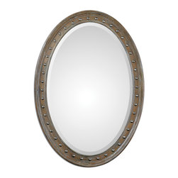 "Uttermost - Sylvana Oval Mirror - Softly weathered, pine wood frame is lightly washed in gray glaze accented with nickel nail trim. Mirror features a generous 1 1/4"" bevel. May be hung horizontal or vertical."