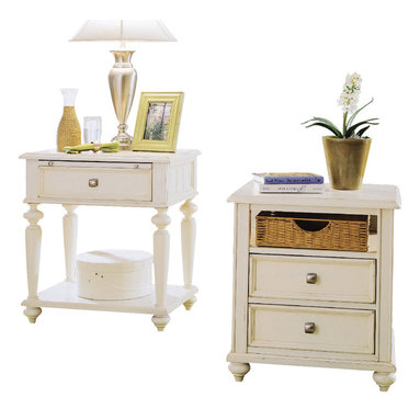 American Drew - American Drew Camden-Light Side Table with Nightstand in White Painted - The Camden-Light collection melds simple forms with quiet traditional references, gentle curves and a beautiful time worn ivory finish that lets the character of the wood show through. The brushed nickel finish hardware adds even more character to the Camden collection. This line will work great in your renovated farm house or a smaller beach cottage get-away.