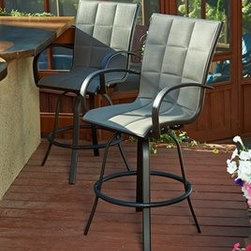 Outdoor Greatroom - Outdoor GreatRoom Empire Aluminum Swivel Rocker Bar Stool (Set of 2) - The Empire Bar Stools (Set of 2) are the perfect addition to your outdoor space. These Chairs are a classic design in a modern neutral color that goes great with black or brown. Pair with one of our Empire Pub tables. In 1975 Dan and Ron Shimek started a company based on a simple idea: to create a cozy fire at the touch of a button. In 2000 the Shimeks moved on with a different idea: to create an outdoor grill that would take the guesswork out of grilling. And that led to the founding of a company with an even broader vision: to make outdoor living match the elegance and comfort found indoors. The Outdoor Greatroom Company has everything you need to create your dream outdoor room. They design manufacture and sell pergolas outdoor kitchens grills luxury outdoor furniture fireplaces fire pits lighting and heating products. Features include Rust-Proof Powder Coated Aluminum Frame Outdoor-Rated Fabric Padded Sling Swivel-Rocking Base Set Of Two. Specifications Distressed Finish: No.
