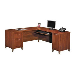 Bush - Somerset L-Shaped Desk Kit in Hansen Cherry - This handsome Somerset L-shaped desk Kit in a Hansen Cherry finish is fashioned with a keyboard space and concealed CPU storage with wire access.  The pedestals, both interchangeable for maximum flexibility, also provide both file and box storage. * Keyboard and pedestals mount on left or right side for configuration flexibility. Concealed vertical CPU storage with rear wire access. Box drawer for office supplies. File drawer holds letter-size files. Back is finished. Full Assembly Required. Accepts Hutch WC81711. 70.984 in. W x 70.984 in. D x 29.134 in. H