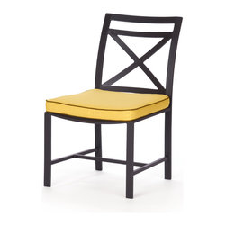 Caluco - San Michelle Dining Side Chair - The San Michelle Dining Side Chair combines style, durability, and comfort to provide unmatched value in outdoor seating.  Pictured in the charcoal grey aluminum.