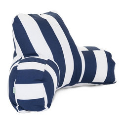 Navy Blue Vertical Stripe Reading Pillow - Now you can kick back and relax anywhere, inside or out, with this comfortable and supportive Reading Pillow. The Best Pillow Shoppe Indoor/Outdoor Navy Blue Vertical Stripe Reading Pillow provides back and head support that is perfect for many activities such as reading, working on your laptop or lounging with friends. Stuffed with a super loft recycled polyester fiber fill, the reading pillows zippered slipcover is woven from Outdoor Treated polyester and has up to 1000 hours of U.V. protection. The slipcover also zips off and is machine-washable.