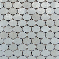 "New ""SOHO MOSAIC SERIES""-Crema Marfil Oval polished Mosaics -"