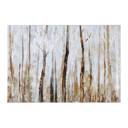 Uttermost Mystic Forest Hand Painted Art - Hand painted canvas w/ high gloss finish stretched over wood vibrant, earth tone colors are used in creating this hand painted artwork on canvas. The canvas is stretched over a wood frame. Due to the handcrafted nature of this artwork, each piece may have subtle differences.