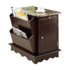 """Acme - Lisa Espresso Finish Wood and Faux Marble Top Chair End Table with Magazine Rack - Lisa espresso finish wood and faux marble top chair end table with magazine rack on the side. Measures 17"""" x 23"""" x 23""""H. Some assembly required."""