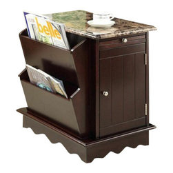 "Acme - Lisa Espresso Finish Wood and Faux Marble Top Chair End Table with Magazine Rack - Lisa espresso finish wood and faux marble top chair end table with magazine rack on the side. Measures 17"" x 23"" x 23""H. Some assembly required."