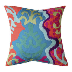 Embroidered Wave of Day Pillow - Artistic and luxurious, this pillow's design welcomes the good times while sending the bad energy away. Made from 100% cotton, the vibrantly embroidered pillow will add a soothing vibe to any room. Toss one on a couch, chair, or bed for a tranquil and cozy splash of design.