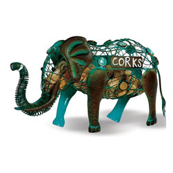 """Picnic Plus - Cork Caddy, Elephant - Our Picnic Plus whimsical Elephant Cork Caddy is great for collecting and saving your wine bottle corks. Makes a fun conversation piece and looks great on a bar or mantel. Made with durable steel and has a patina finish. Holds up to 54 corks. Trunk opens for access. Dimensions 15""""w x 4""""d x 8""""h; Picnic Plus Cork Caddy displays and stores wine corks;Country of Origin: China;Dimensions: 15""""W x 4""""D x 8""""H"""