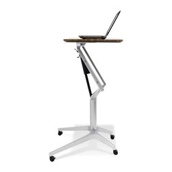 """Workpad - Height Adjustable Laptop Stand, Walnut - Designed to fit in wherever you need it to be—the ergonomic WorkPad can work as a mobile freestanding desk at home or in an office, or within a systems environment. Moving silently up and down in seconds, the WorkPad uses an innovative counter-balance mechanism to enable immediate and effortless, single-handed height adjustment - and it allows you to make the transition from seated to standing position heights so that you can simply work sitting or standing. With a small footprint, castors for quick mobility and several finishes to choose from, this table is an easy fit in any space. Height adjusts from 28.5"""" to 40"""""""