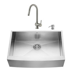 "VIGO Industries - VIGO All in One 33-inch Farmhouse Stainless Steel Kitchen Sink and Faucet Set - Enhance the look of your kitchen with a VIGO All in One Kitchen Set featuring a 33"" Farmhouse - Apron Front kitchen sink, faucet, soap dispenser, matching bottom grid and sink strainer."