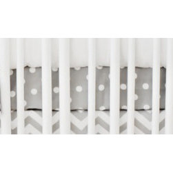 "New Arrivals Inc. - Gray Polka Dot Crib Sheet - The Gray Polka Dot Crib Sheet measures 27.5"" x 51"" x 8""."