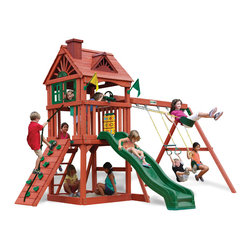 Gorilla Playsets - Nantucket Swing Set - The Nantucket Swing Set by Gorilla Playsets is a perfect swing set, complete with delightful features that children love! It has details like a real wood roof, a chimney and working shutters! Fun activities like a Wave Slide and a climbing wall create the setting for a perfect day of play! The entire playset is finished in a beautiful redwood stain. This premium cedar wood playset is pre-cut, pre-sanded, pre-stained and ready to assemble in your backyard over the weekend.  Gorilla Playsets' cedar naturally resists rot, decay, and insect damage.