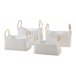 Amelia Magazine Baskets - Set of 4 - Publishing house: Velvet-lined, leather look quartet of croc-embossed magazine baskets in varying sizes feature trend-right bamboo handles. Details,