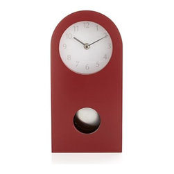 Crimson Mantle Clock - Classic mantel clock slims to modern minimal in timely crimson.