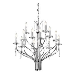 Joshua Marshal - Twelve Light Chrome Up Chandelier - Twelve Light Chrome Up Chandelier