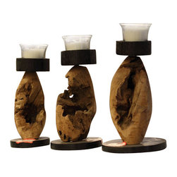ParrotUncle - 3-piece Crafted Natural Driftwood Candle Holder Set - Natural, unfinished driftwood sculpted into a sturdy candle holders. Natural craft driftwood candle holders