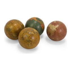 "IMAX - Antique Finish Globe 4"" Spheres - Set of 4 - Set of four antique finish globe spheres in assorted colors. Item Dimensions: (4""d)"
