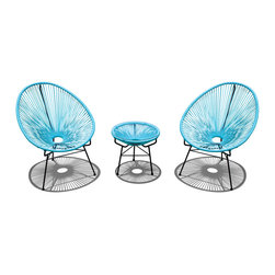 Harmonia Living - Acapulco 3 Piece Retro Patio Chat Set, Glacier Blue - Who needs the tropics when you have this fun, unusual furniture sitting on your patio or deck? Shaped like fans, the chairs will cushion your whole body, letting the breeze flow through, not just over you. Add the cushion to the table for an instant ottoman.