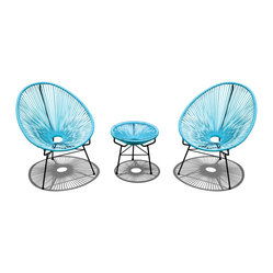 Acapulco 3-Piece Retro Patio Chat Set, Glacier Blue