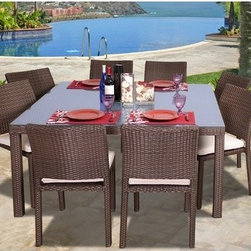 International Home Miami - Atlantic 9 Piece Dining Set - Great quality, stylish design patio sets. Polyester cushion with water repellant treatment. Enjoy your patio with elegance all year round with the wonderful Atlantic outdoor collection. Free Feron Gard Vinyl Preservative for longest strap durability. It works great against the effects of air pollution salt air, and mildew growth. For best protection, perform this maintenance every season or as often as desired. Features: -Material: Aluminum and synthetic wicker.-Set includes table with glass top and 8 stacking side chairs with cushions.-Umbrella Hole: No.-Distressed: No.-Country of Manufacture: China.Dimensions: -Table: 29'' H x 59'' W x 59'' D.-Chair: 34'' H x 22'' W x 19'' D.Assembly: -Assembly required.Warranty: -Product Warranty: 1 Year.