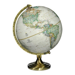National Geographic - Grosvenor National Geographic World Globe - The Grosvenor world globe features a classic metal base combined with elegant parchment colored globe cartography.