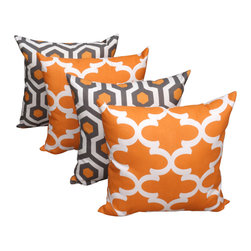 Land of Pillows - Magna and Fynn Cinnamon Orange and Gray Decorative Throw Pillows - Set of 4, 16x - Fabric Designer - Premier Prints