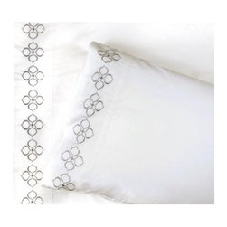 Jonathan Adler - Hollywood Embroidered Sheet Set - Go to bed with Jonathan Adler. Our collection features 400 thread count, 100% cotton percale in our signature patterns. Patterned duvets are complemented by coordinating sheets and shams. Chic and classique--very you! Features: -Sheet sets include one fitted sheet, one flat sheet, two pillowcases (one for twin set). -Material: 100% Cotton Percale. -400 Thread Count. -Cotton with embroidery (on flat sheet and pillow case).