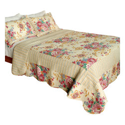 Blancho Bedding - [Girl Memories]100% Cotton 3PC Vermicelli-Quilted Patchwork Quilt Set Full/Queen - The [Girl Memories] Quilt Set (Full/Queen Size) includes a quilt and two quilted shams. Shell and fill are 100% cotton. For convenience, all bedding components are machine washable on cold in the gentle cycle and can be dried on low heat and will last you years. Intricate vermicelli quilting provides a rich surface texture. This vermicelli-quilted quilt set will refresh your bedroom decor instantly, create a cozy and inviting atmosphere and is sure to transform the look of your bedroom or guest room. Dimensions: Full/Queen quilt: 90 inches x 98 inches; Standard sham: 20 inches x 26 inches.