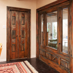 Canyon Road Remodel - The Doors (and a Gate) - Custom door and window, both with surrounds.  Made with antique carved panels and fragments.