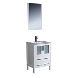 "Fresca - Fresca Torino 24"" Modern Bathroom Vanity w/ Integrated Sink - White - Fresca is pleased to usher in a new age of customization with the introduction of its Torino line. The frosted glass panels of the doors balance out the sleek and modern lines of Torino, making it fit perfectly in either Town or Country dcor."