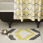 "Tali Bath Mat - Add some of the current ""it"" pattern, ikat, to your bathroom with this lovely gray and yellow bathmat (and matching shower curtain if you wish)."