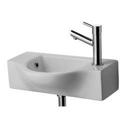 ALFI brand - ALFI brand AB105 Small Wall Mounted White Ceramic Bathroom Sink - A simple small porcelain wall mounted bathroom sink is sometimes harder to find than you might think. This Alfi brand sink model offers a modern sink design in a compact size and convenient shape. Perfect for upgrading small bathrooms or powder rooms. *Faucet not included.