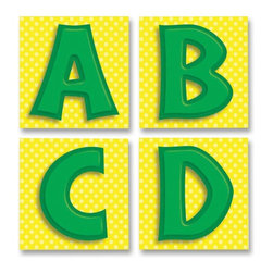Carson-Dellosa - Carson-Dellosa Quick Stick Letter - 3 x 3 - Green - Bold letters are self-adhesive and stick to most smooth surfaces, such as wood, metal, even painted cinder blocks. The repositionable letters come down as easily as they go up without damaging your walls. each precut square contains a letter on a colorful background.
