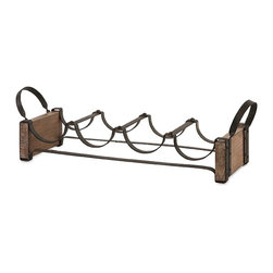 """Imax - Rustic Wood and Iron Wine Holder - *Dimensions: 6.75""""h x 6.5""""w x 23"""""""
