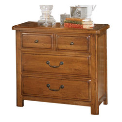 American Drew - American Drew New River 3 Drawer Nightstand in Rustic Alder - The bedroom exudes a solid and relaxed style, with refined details that add a touch of craftsmanship, like thumb-molded solid wood drawer fronts, shaped posts, recessed end panels, pegged joints and cast hardware accents. The drawer dresser provides ample storage in eight sizable drawers, while a leather-fronted bachelor�۪s chest, accented with nail heads, lends a rustic, lodge touch. The 70� tall raised-panel bed with softly rounded cap rail is a focal point in any bedroom. An upholstered sleigh bed adds comfort and luxury, while the metal bed creates a more urban atmosphere.
