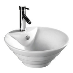 """TCS Home Supplies - Porcelain Ceramic Single Hole Countertop Bathroom Vessel Sink - Countertop Bathroom Single Hole Vessel Sink. Porcelain Ceramic. Countertop-Mount Installation. Compatible with any Short Single Hole Vessel Filler Faucets. Dimensions 18-1/2"""" x 7-1/2""""."""