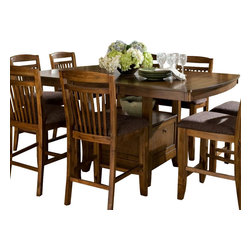 Homelegance - Homelegance Marcel Butterfly Leaf Counter Height Table with Storage Base - A classic addition to your casual dining room, your family and friends will enjoy the times they spend sitting around the Marcel collection. Seating 8 comfortably, the storage base counter height with butterfly leaf table is flanked by slat-back chairs featuring a warm brown fabric seat. Each-Piece of the collection is finished in a warm oak tone. The coordinating server features wine rack, drawer and-door storage.