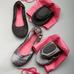 CitySlips - CitySlips Glitter-Toe Ballet Travel Flats - Give tired, sore feet the slip with these glammed-up, stow-and-go shoes. Genuine leather upper; polyurethane insole; glitter accents. Innovative split-sole structure and comfy elastic backing. Comes with pink drawstring travel bag. Available in thr...