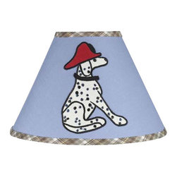 Sweet Jojo Designs - Firetruck Lamp Shade - Firetruck Lamp Shade by Sweet Jojo Designs is a beautifully designed childrens lamp shade that is made to fit small desk-sized lamp bases (base not included).  The lampshade attaches securely on the lamp's light bulb socket and the light bulb is twisted in through the opening at the top.Lamp Shade Dimensions: 4x7x10