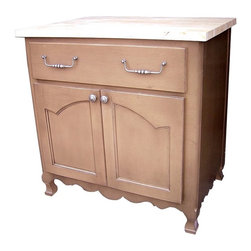 British Traditions - 3 Ft. Wide Kitchen Island w 1 Long Drawer & 1 Large Cabinet (Antique White) - Finish: Antique White. Each finish is hand painted and actual finish color may differ from those show for this product. Simple French kitchen island. 1 Long drawer. 1 Large cabinet. Minimal assembly required. 34.5 in. W x 23 in. D x 36 in. H (98 lbs.)The Aubette Kitchen Island comes with a generous drawer and cabinet and has French curves on the doors and feet.
