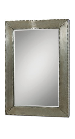 Uttermost - Rashane Metal Mirror - Silvered and studded, this piece makes an impressive statement wherever you hang it. The amply beveled mirror within an aluminum frame has clean, modern lines and consummate classic style.