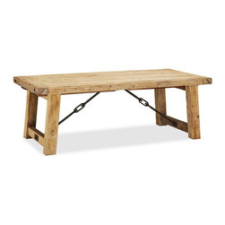 Benchwright Reclaimed Wood Extending Dining Table, Wax Pine Finish - I love the farmhouse look of this table. My neighbor has it, and it is huge! You could fit an army around it.