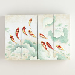 """Horchow - Koi Flat-Screen TV Wall Cabinet - Koi Flat-Screen TV Wall CabinetDetailsHandcrafted flat-screen TV wall cabinet.Made of wood composite and hardwood.Hand-painted Asian artwork.Lacquer finish.54""""W x 6.5""""D x 37.5""""T; interior 49.25""""W x 5""""D x 33""""T.Imported.Weight 50 lbs. Boxed weight approximately 60 lbs. Please note that this item may require additional shipping charges."""