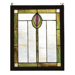"Meyda Tiffany - Meyda Tiffany 98100 Stained Glass Tiffany Window Arts & Crafts Collecti - 14"" W 17"" H Spear Wood Frame WindowA Stylized Spear Of Avocado Green And Rust Adorn This Wispy Beige Rippled Glass WindowIncludes Mounting Brackets and Chains"