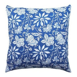 5 Surry Lane - Blue Floral Indian Block Print Pillow - Accent your home with this gorgeous throw pillow, replete with flowers, scrolling lines and intricate details. It's a charming way to add variety not just to your sofa, but to benches, love seats and armchairs too.