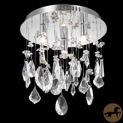 Christopher Knight Home - Christopher Knight Home Chrome 3-Light Crystal Chandelier - This dramatic silver chrome three-light chandelier features opulent crystal drops cascading from the flush mount metal base. This sleek statement piece holds three halogen bulbs to ensure a rich, radiant glow that covers the entire room.