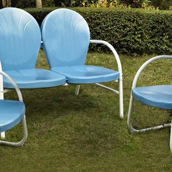 Crosley Furniture - 3-Pc Outdoor Conversation Seating Set - Includes loveseat and two chairs. Easy to assemble. UV resistant. ISTA 3A certified. Warranty: 90 days. Made from sturdy steel. White and sky blue color. Assembly required. Loveseat: 41.13 in. W x 29.5 in. D x 34.5 in. H (29 lbs.). Chair: 28.5 in. W x 21 in. D x 34.5 in. H (15 lbs.). Overall weight: 59 lbs.Relax outside for hours on our nostalgically inspired Griffith outdoor furniture. Kick back while you reminisce in this seating set, designed to withstand the hottest of summer days and other harsh conditions. The furnitures complement your outdoor accessories.
